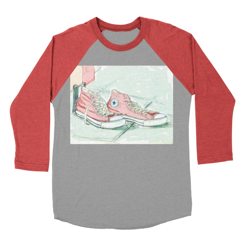 Red All Star Men's Baseball Triblend Longsleeve T-Shirt by hrbr's Artist Shop