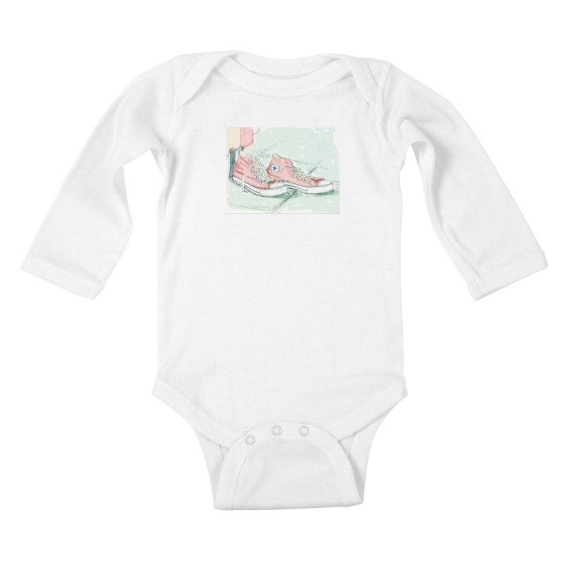 Red All Star Kids Baby Longsleeve Bodysuit by hrbr's Artist Shop