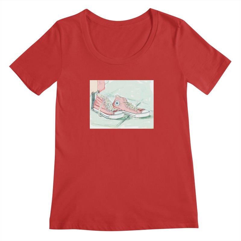 Red All Star Women's Regular Scoop Neck by hrbr's Artist Shop