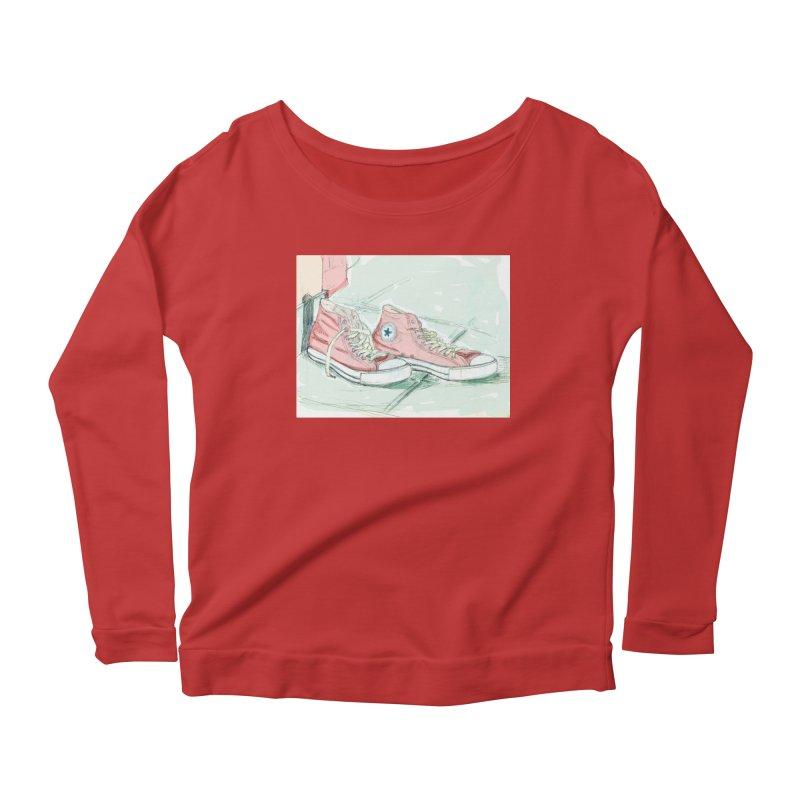 Red All Star Women's Scoop Neck Longsleeve T-Shirt by hrbr's Artist Shop