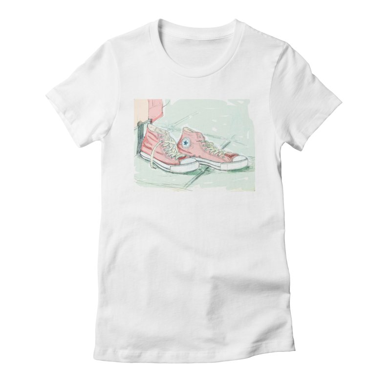Red All Star in Women's Fitted T-Shirt White by hrbr's Artist Shop