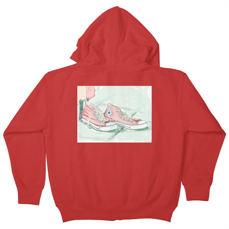 Red All Star Kids Zip-Up Hoody by hrbr's Artist Shop