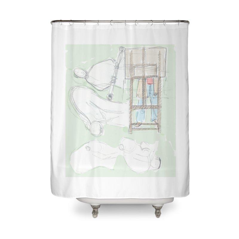 Artist behind artist easel Home Shower Curtain by hrbr's Artist Shop