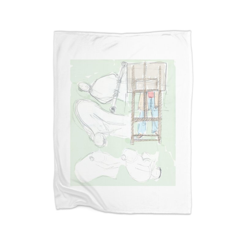 Artist behind artist easel Home Fleece Blanket Blanket by hrbr's Artist Shop