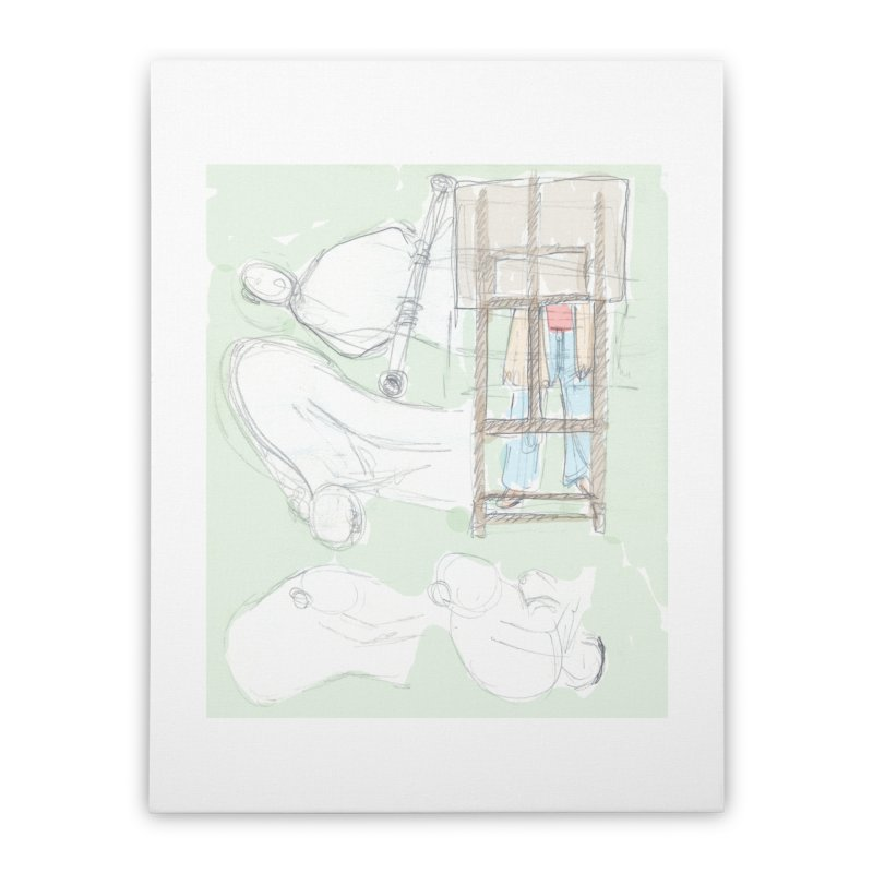 Artist behind artist easel Home Stretched Canvas by hrbr's Artist Shop