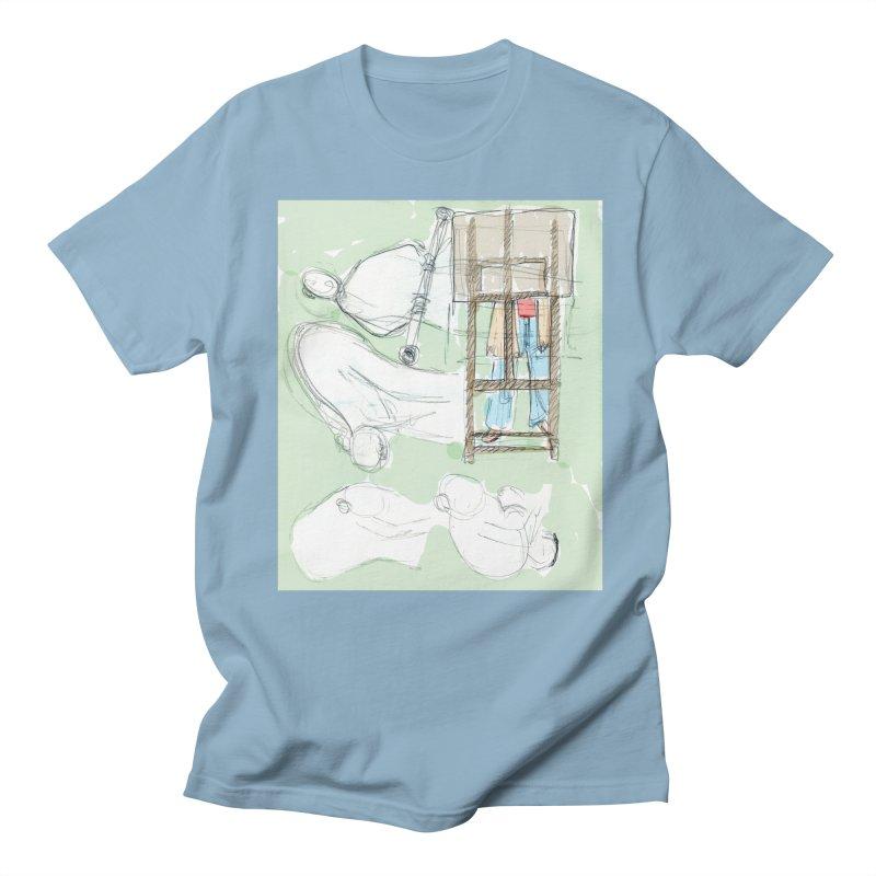Artist behind artist easel Men's Regular T-Shirt by hrbr's Artist Shop
