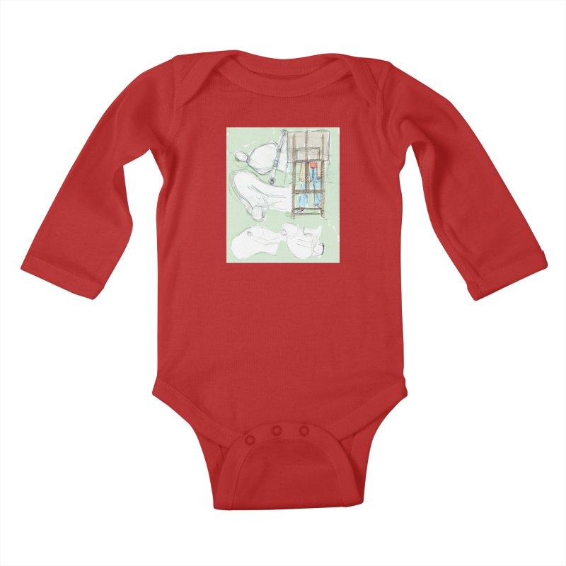 Artist behind artist easel Kids Baby Longsleeve Bodysuit by hrbr's Artist Shop