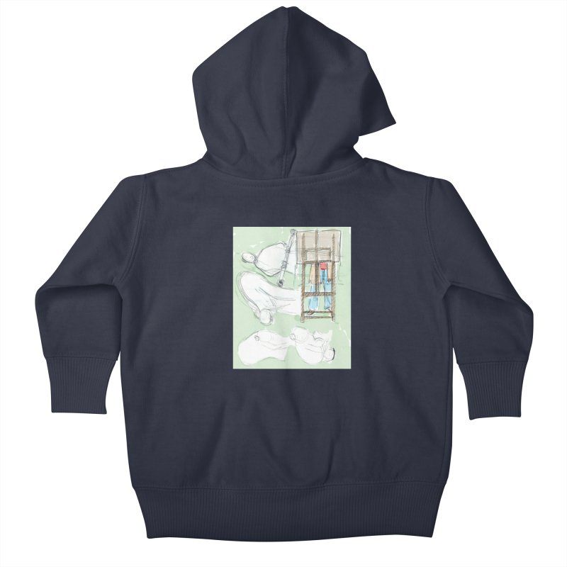 Artist behind artist easel Kids Baby Zip-Up Hoody by hrbr's Artist Shop