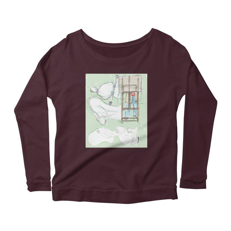 Artist behind artist easel Women's Scoop Neck Longsleeve T-Shirt by hrbr's Artist Shop