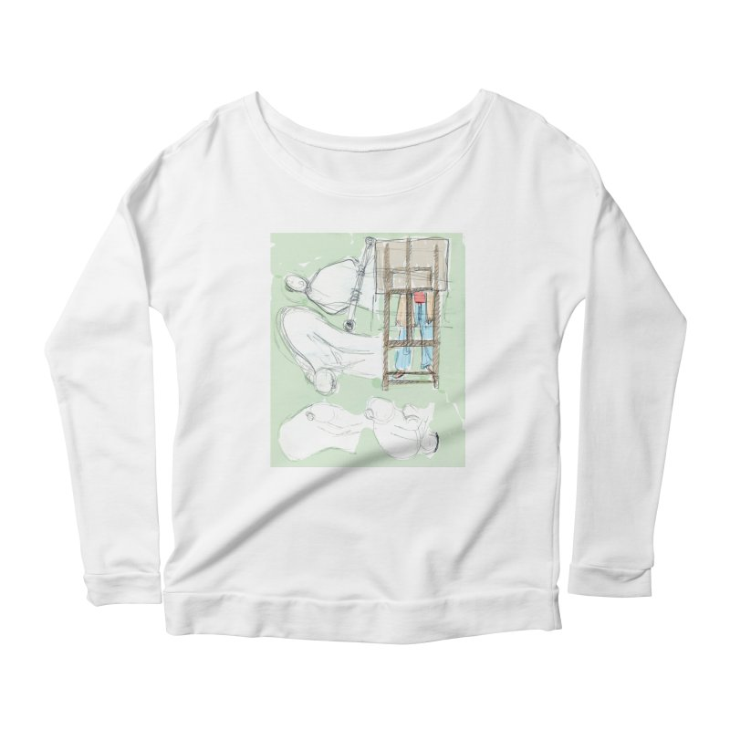 Artist behind artist easel Women's Scoop Neck Longsleeve T-Shirt by hrbr's Artist Shop