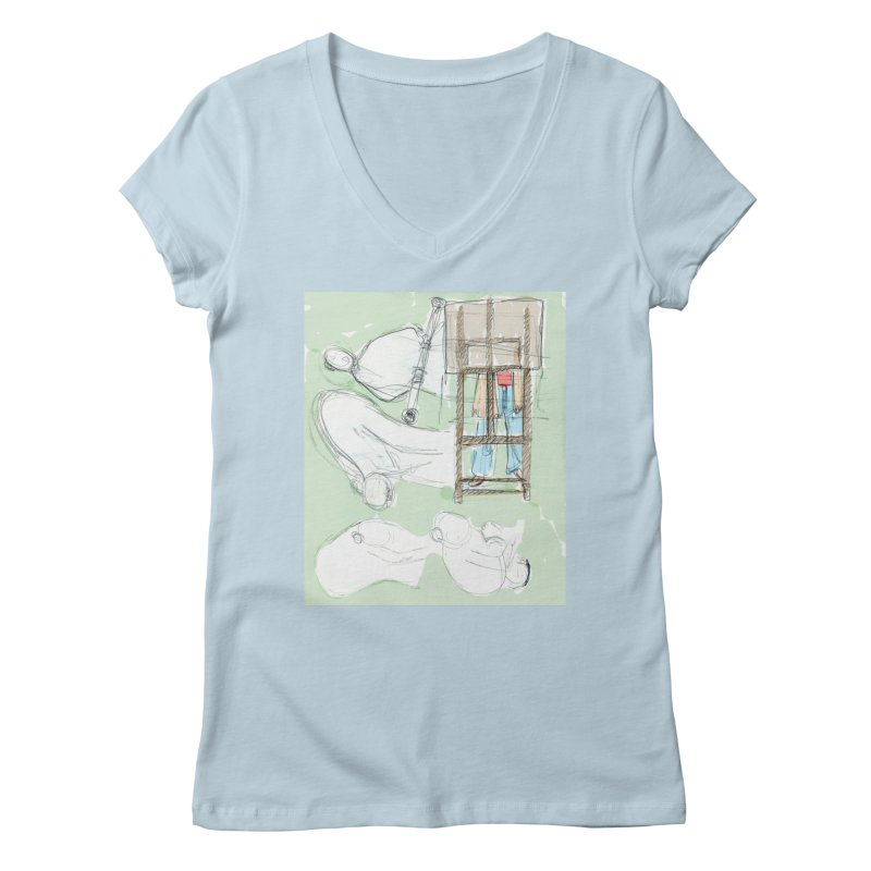 Artist behind artist easel Women's Regular V-Neck by hrbr's Artist Shop