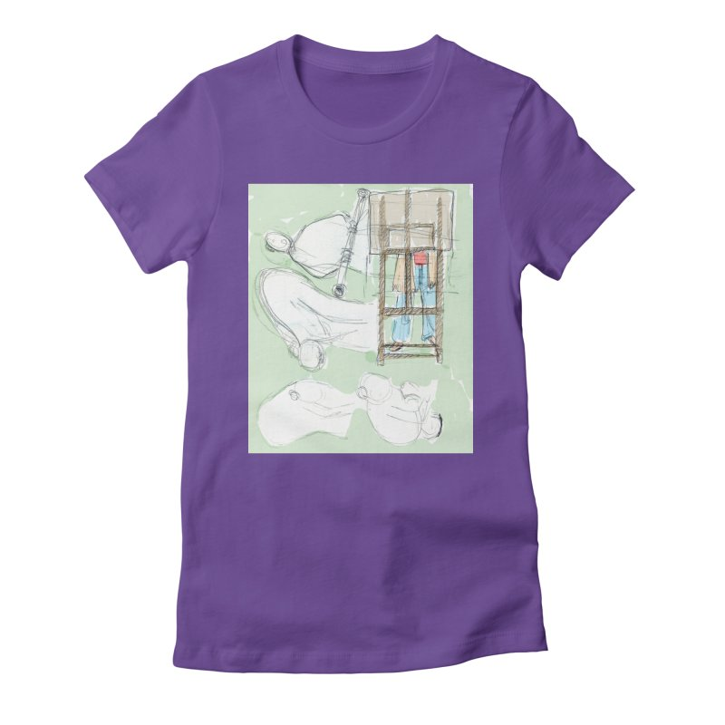 Artist behind artist easel in Women's Fitted T-Shirt Purple by hrbr's Artist Shop