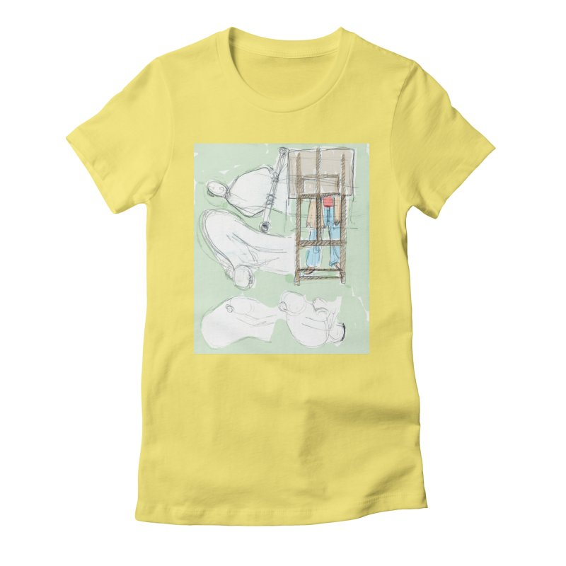 Artist behind artist easel Women's Fitted T-Shirt by hrbr's Artist Shop