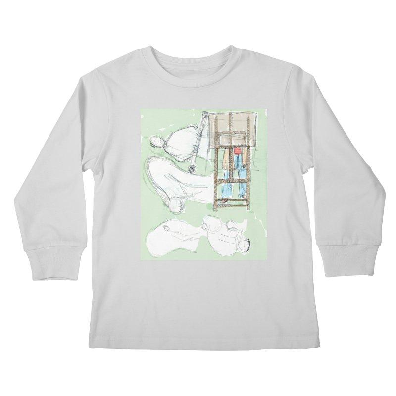 Artist behind artist easel Kids Longsleeve T-Shirt by hrbr's Artist Shop