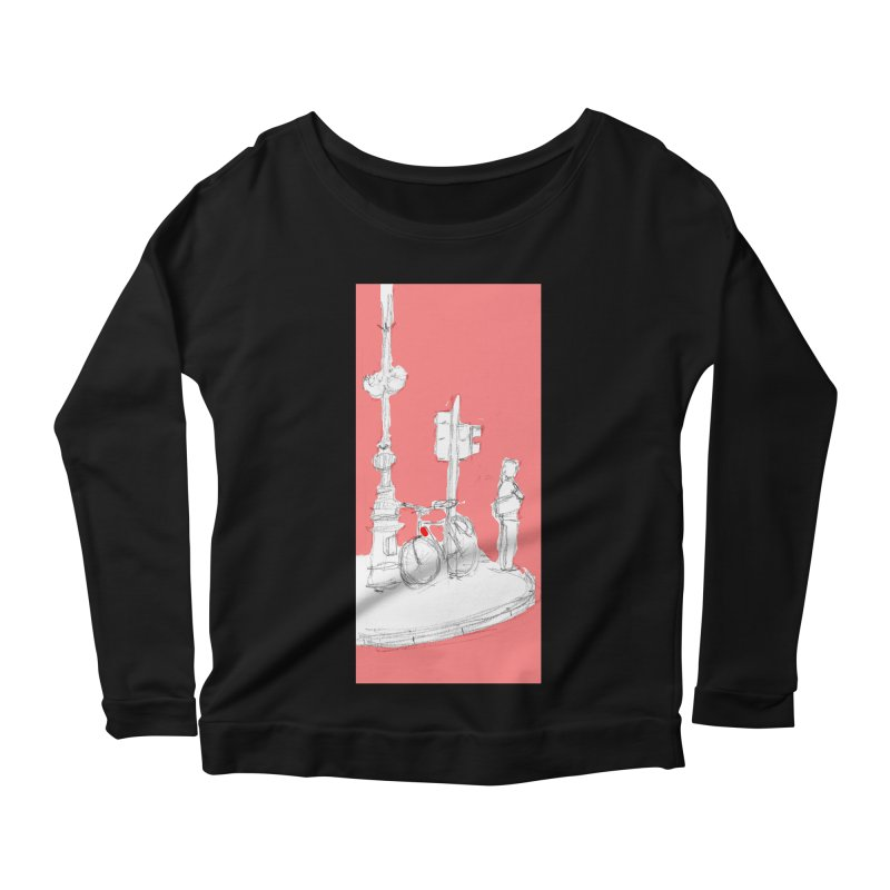 Bike Women's Scoop Neck Longsleeve T-Shirt by hrbr's Artist Shop