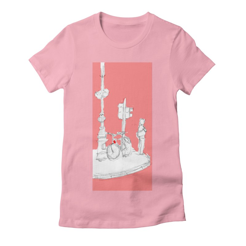 Bike in Women's Fitted T-Shirt Light Pink by hrbr's Artist Shop