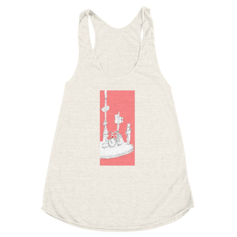 Bike Women's Racerback Triblend Tank by hrbr's Artist Shop