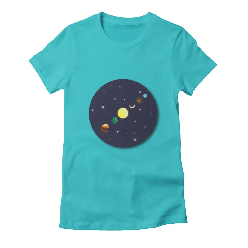 Starry night Women's Fitted T-Shirt by hristodonev's Artist Shop