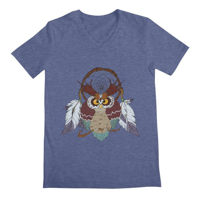 Dream Owl Men's V-Neck by hristodonev's Artist Shop