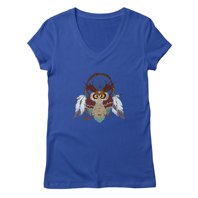 Dream Owl Women's V-Neck by hristodonev's Artist Shop