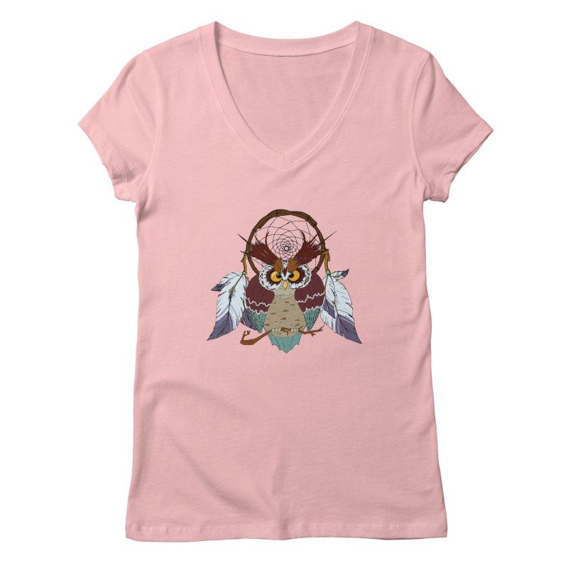 Dream Owl Women's V-Neck by hristodonev's Artist Shop