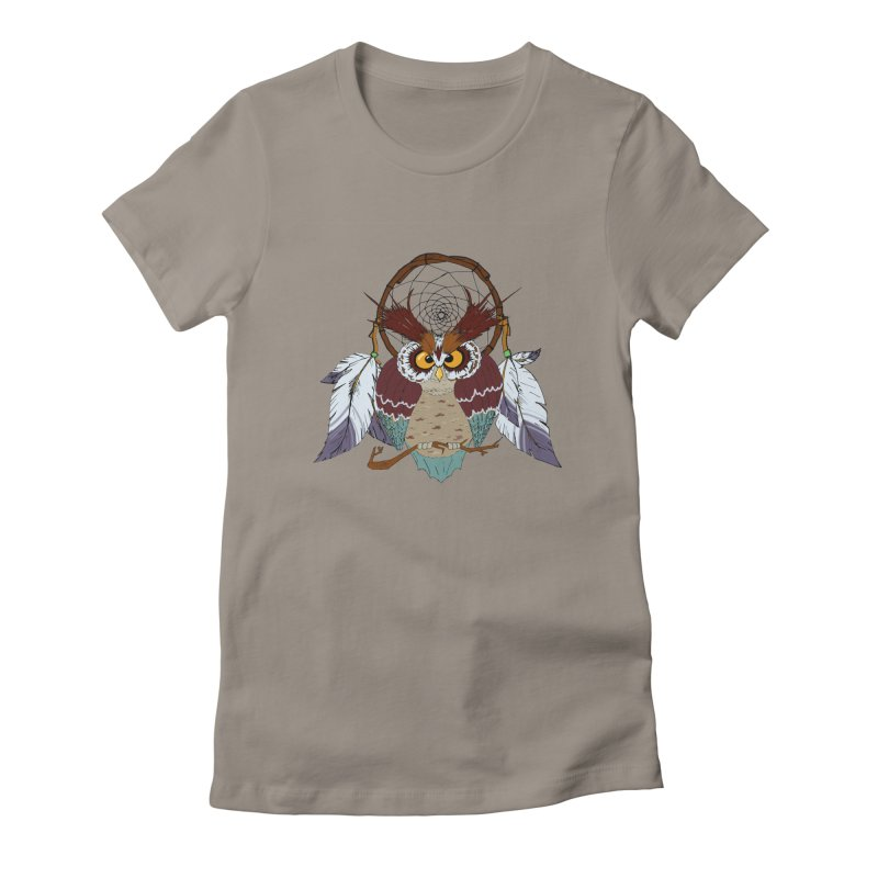 Dream Owl Women's Fitted T-Shirt by Hristo's Shop