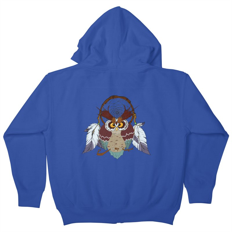 Dream Owl Kids Zip-Up Hoody by hristodonev's Artist Shop