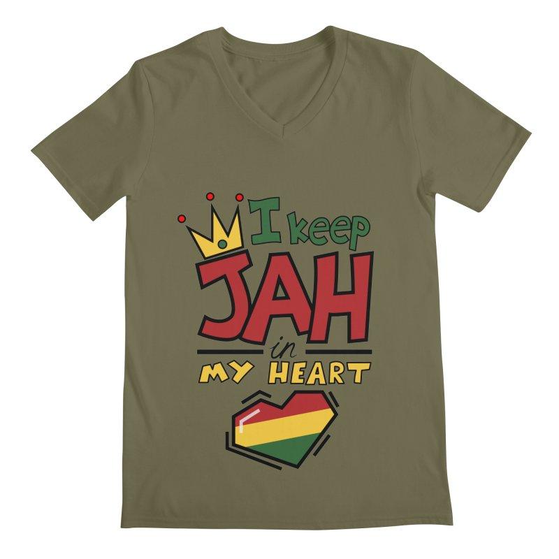 I keep Jah in my Heart Men's V-Neck by hristodonev's Artist Shop