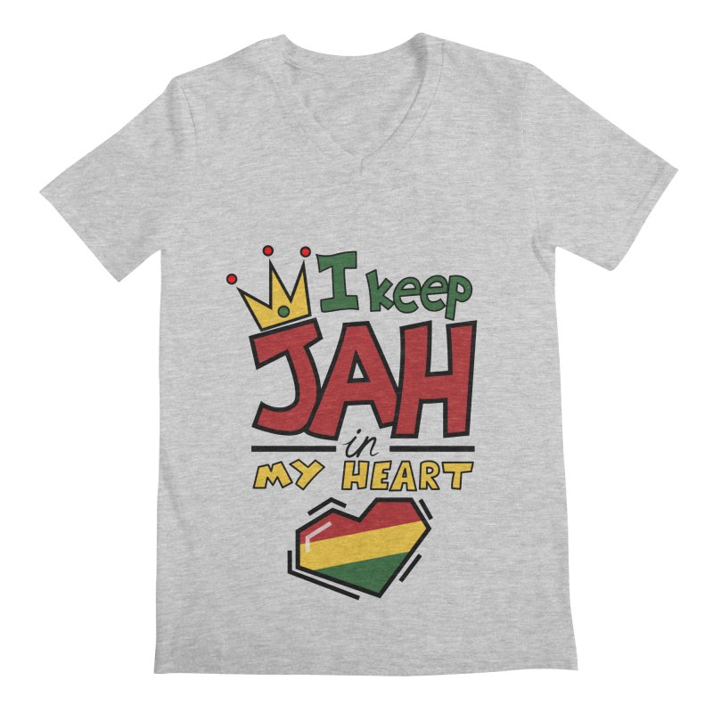 I keep Jah in my Heart Men's V-Neck by hristodonev's Artist Shop