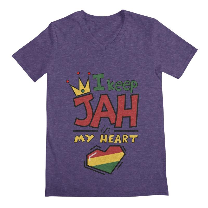 I keep Jah in my Heart Men's Regular V-Neck by Hristo's Shop