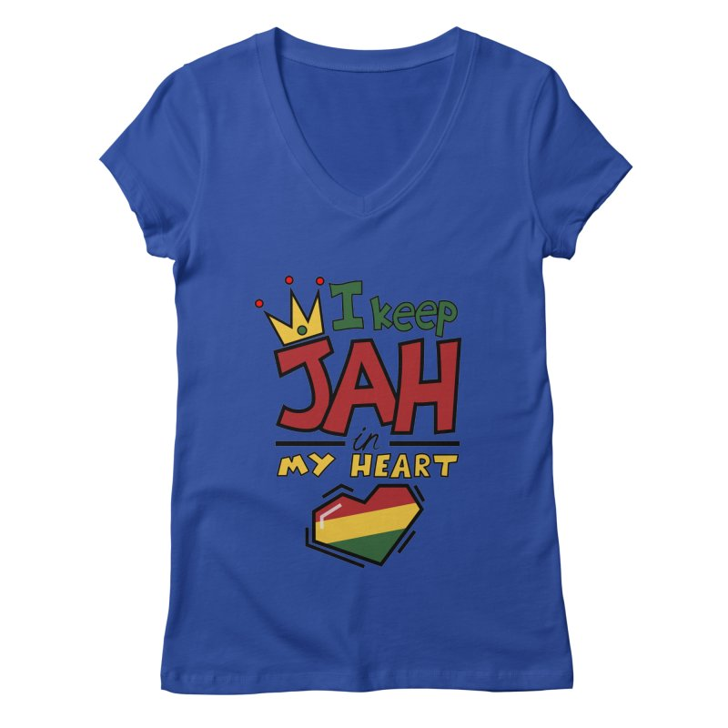 I keep Jah in my Heart Women's V-Neck by Hristo's Shop