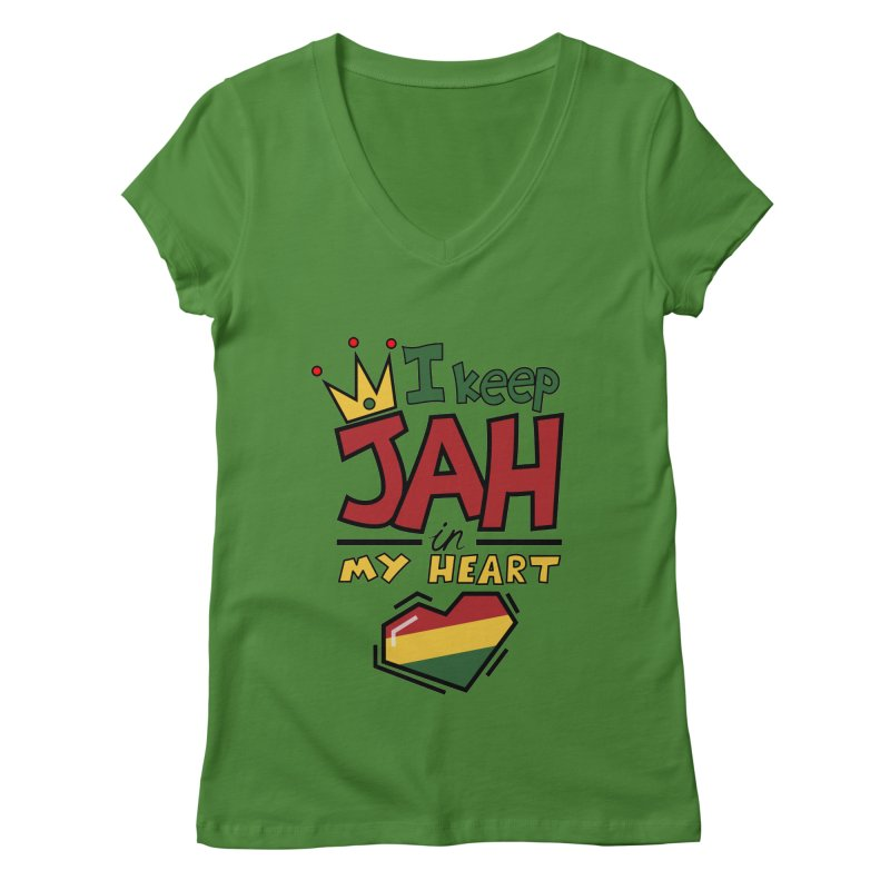 I keep Jah in my Heart Women's Regular V-Neck by Hristo's Shop