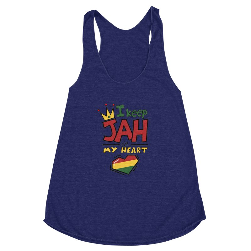 I keep Jah in my Heart Women's Racerback Triblend Tank by hristodonev's Artist Shop