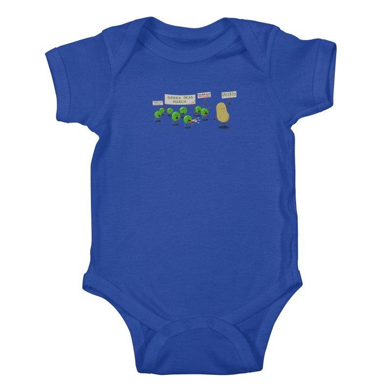 Green Peas March Kids Baby Bodysuit by hristodonev's Artist Shop