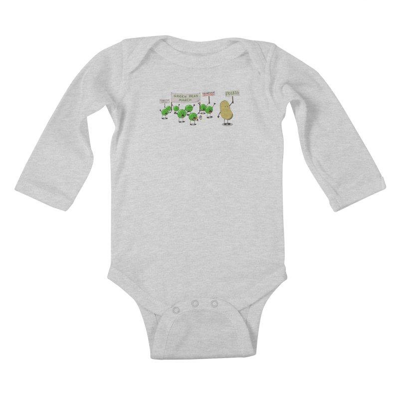 Green Peas March Kids Baby Longsleeve Bodysuit by hristodonev's Artist Shop