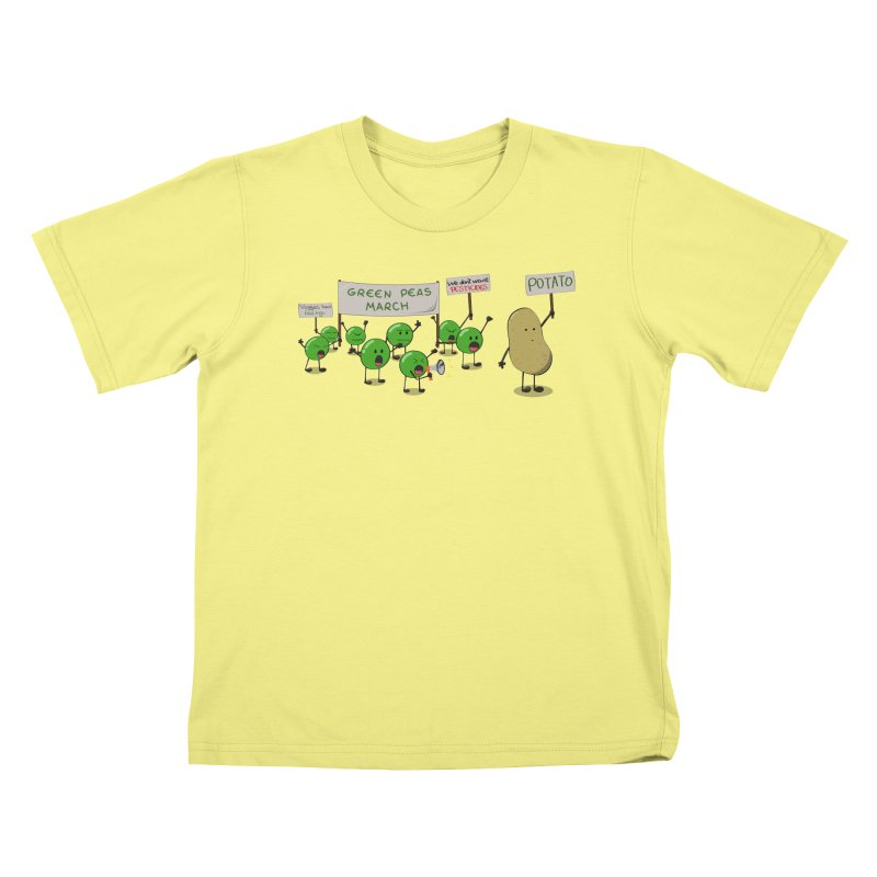 Green Peas March Kids T-shirt by hristodonev's Artist Shop