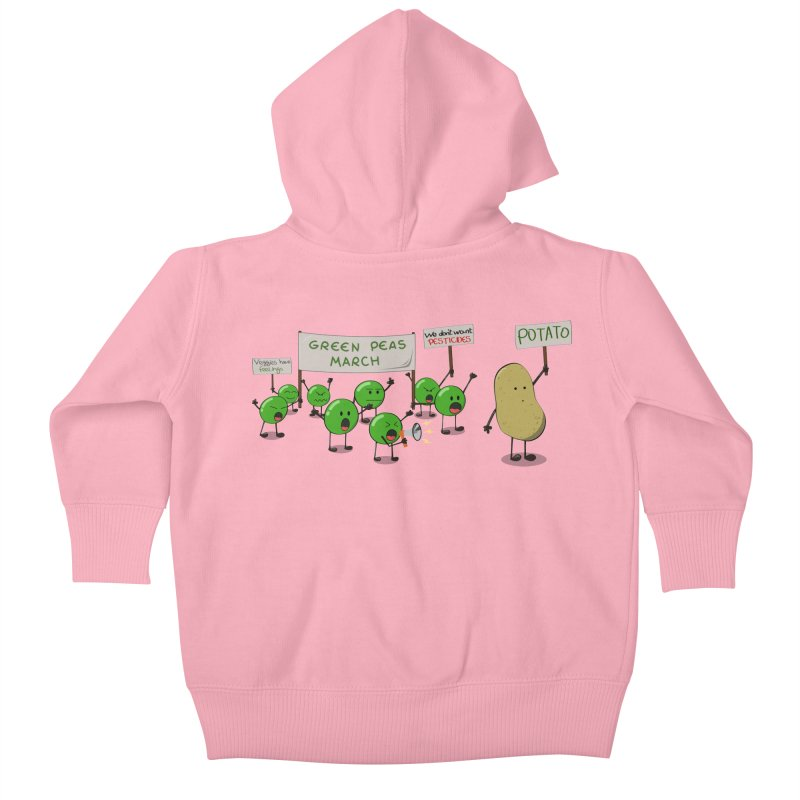 Green Peas March Kids Baby Zip-Up Hoody by hristodonev's Artist Shop