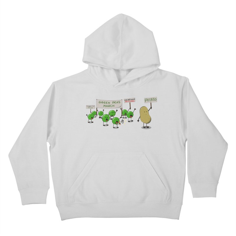Green Peas March Kids Pullover Hoody by hristodonev's Artist Shop