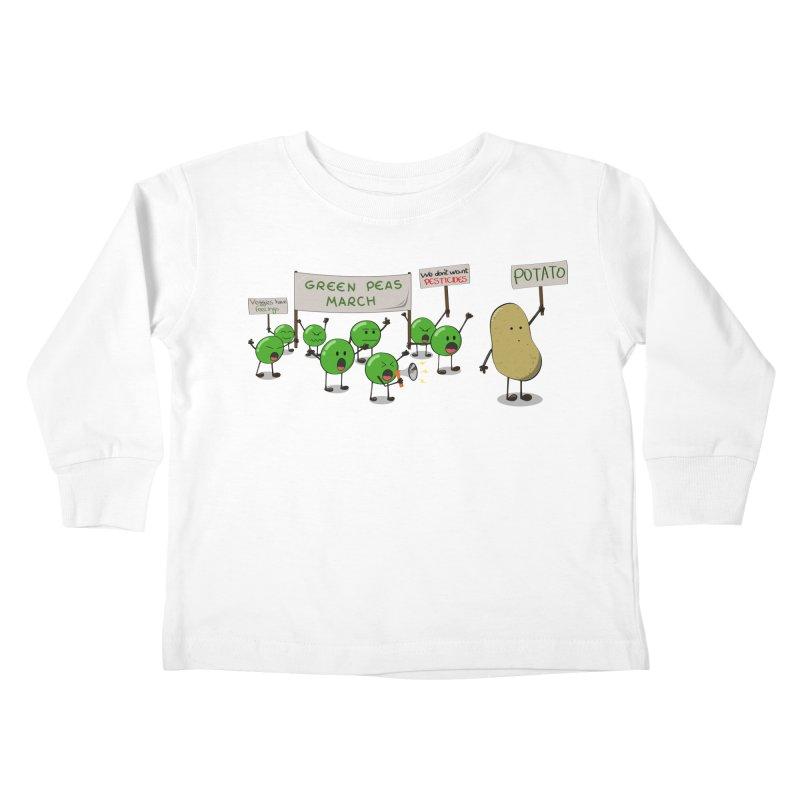 Green Peas March Kids Toddler Longsleeve T-Shirt by hristodonev's Artist Shop