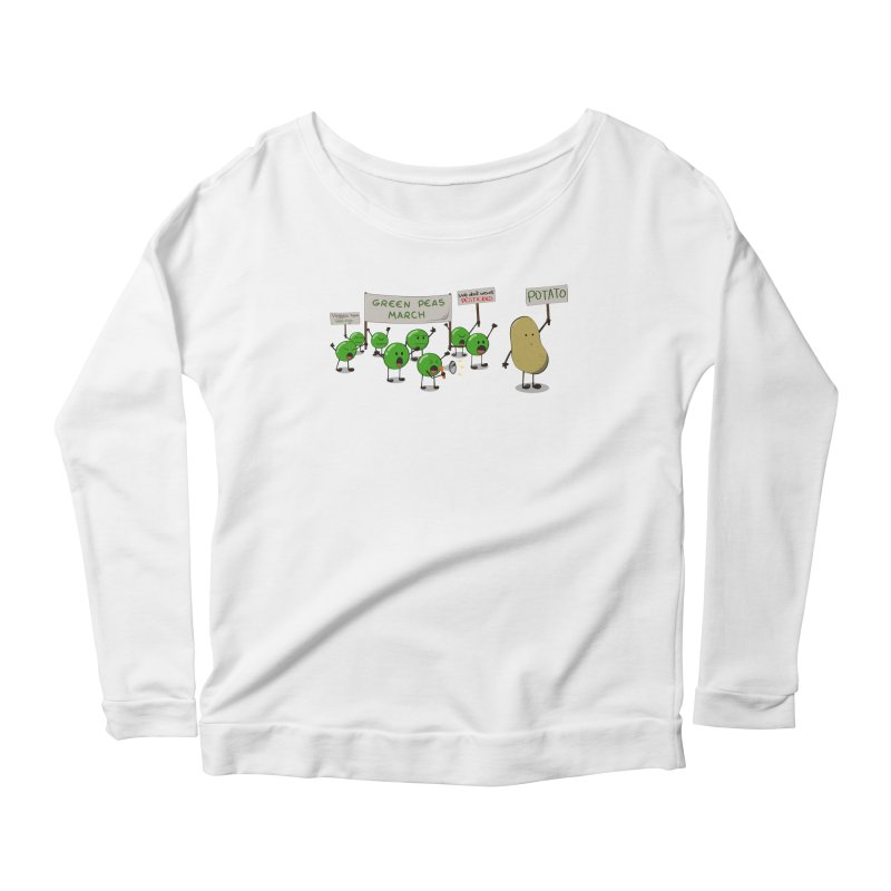 Green Peas March Women's Longsleeve Scoopneck  by hristodonev's Artist Shop