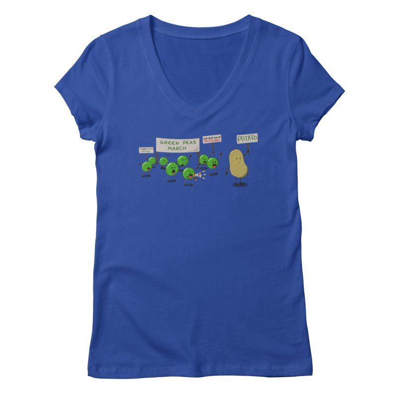 Green Peas March Women's V-Neck by hristodonev's Artist Shop