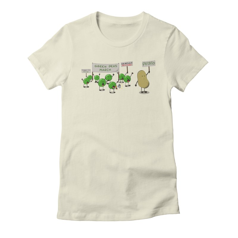 Green Peas March Women's Fitted T-Shirt by hristodonev's Artist Shop