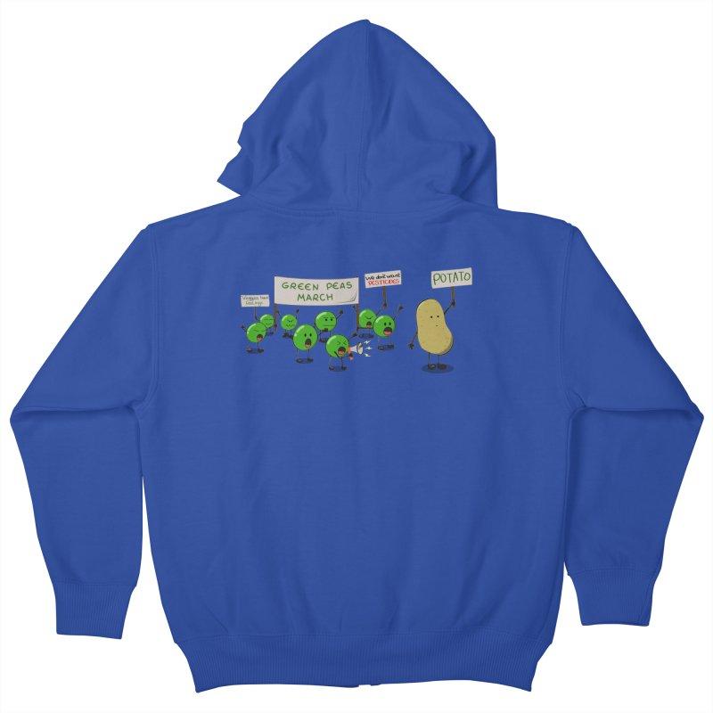 Green Peas March Kids Zip-Up Hoody by hristodonev's Artist Shop