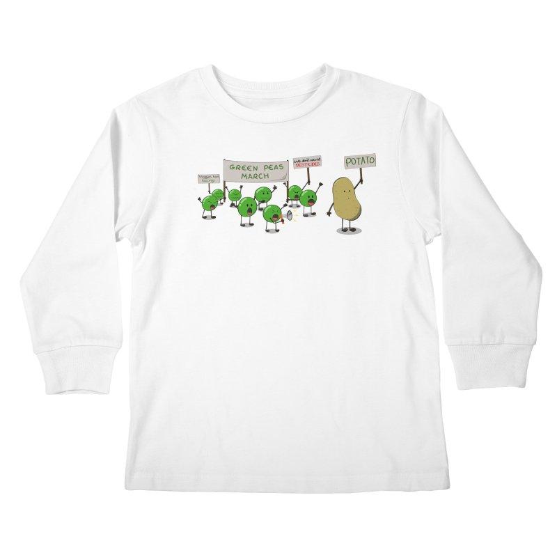 Green Peas March Kids Longsleeve T-Shirt by hristodonev's Artist Shop