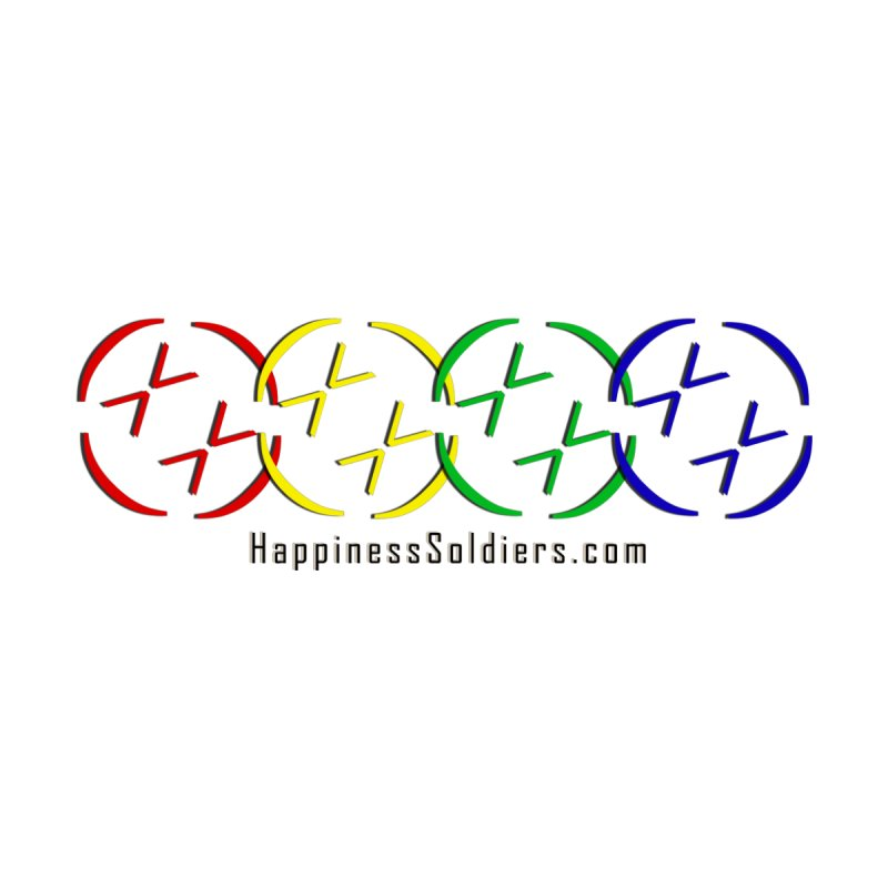 Multi-color Overlapping Happiness Soldier Badges with Website by Happiness Soldiers Artist Shop