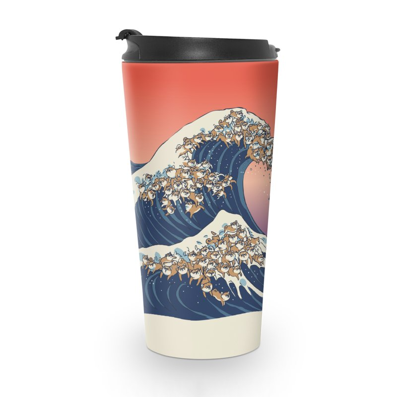 The Great Wave of Shiba Inu Accessories Travel Mug by huebucket's Artist Shop