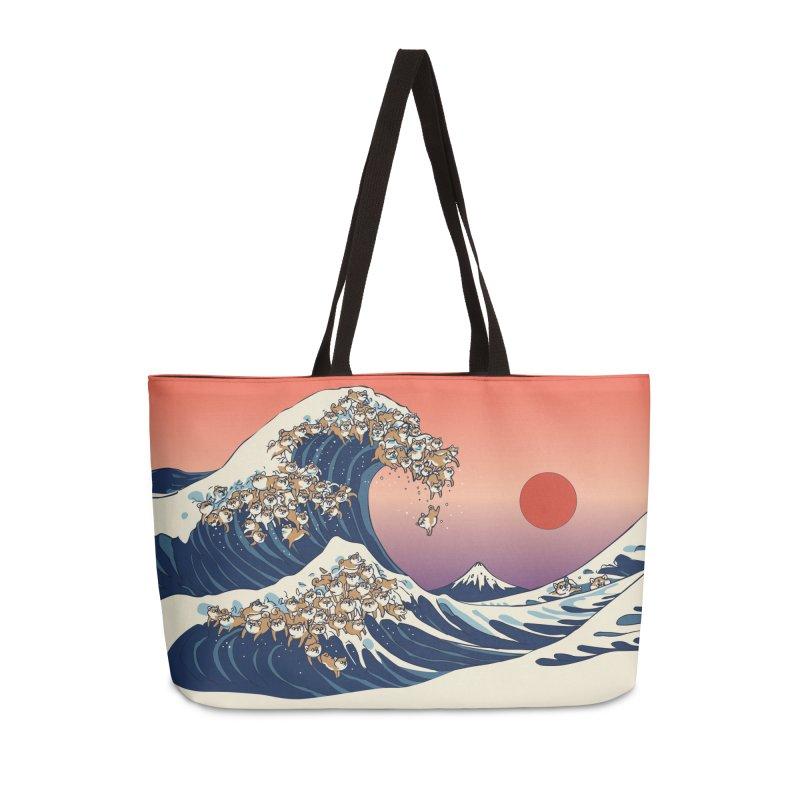 The Great Wave of Shiba Inu Accessories Weekender Bag Bag by huebucket's Artist Shop