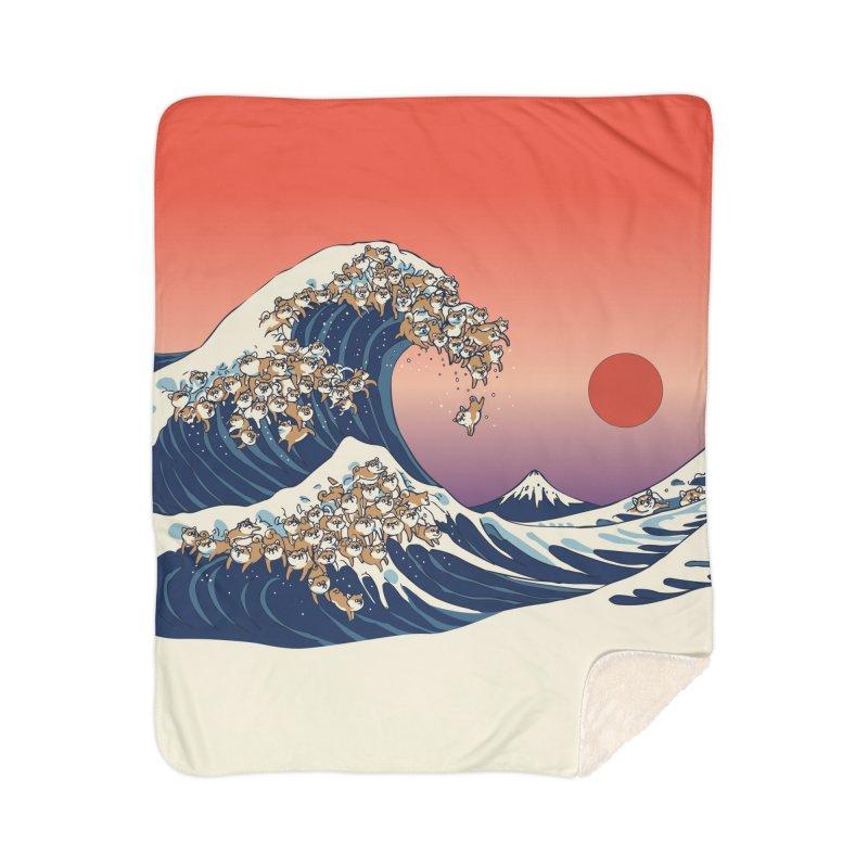 The Great Wave of Shiba Inu Home Sherpa Blanket Blanket by huebucket's Artist Shop