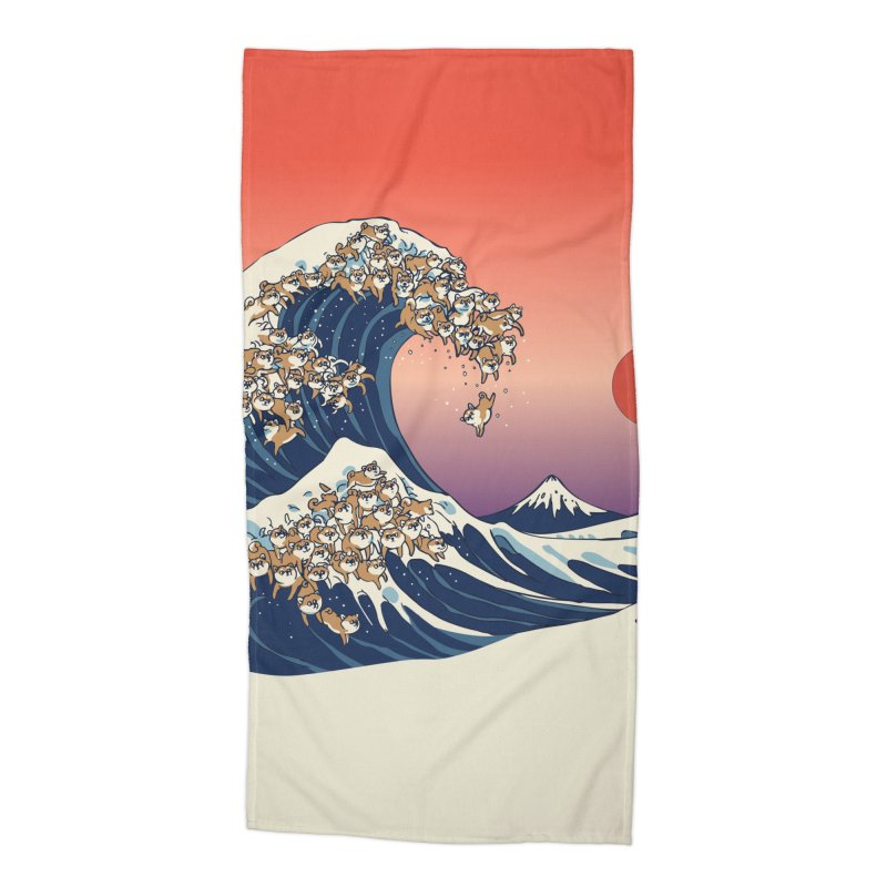 The Great Wave of Shiba Inu Accessories Beach Towel by huebucket's Artist Shop