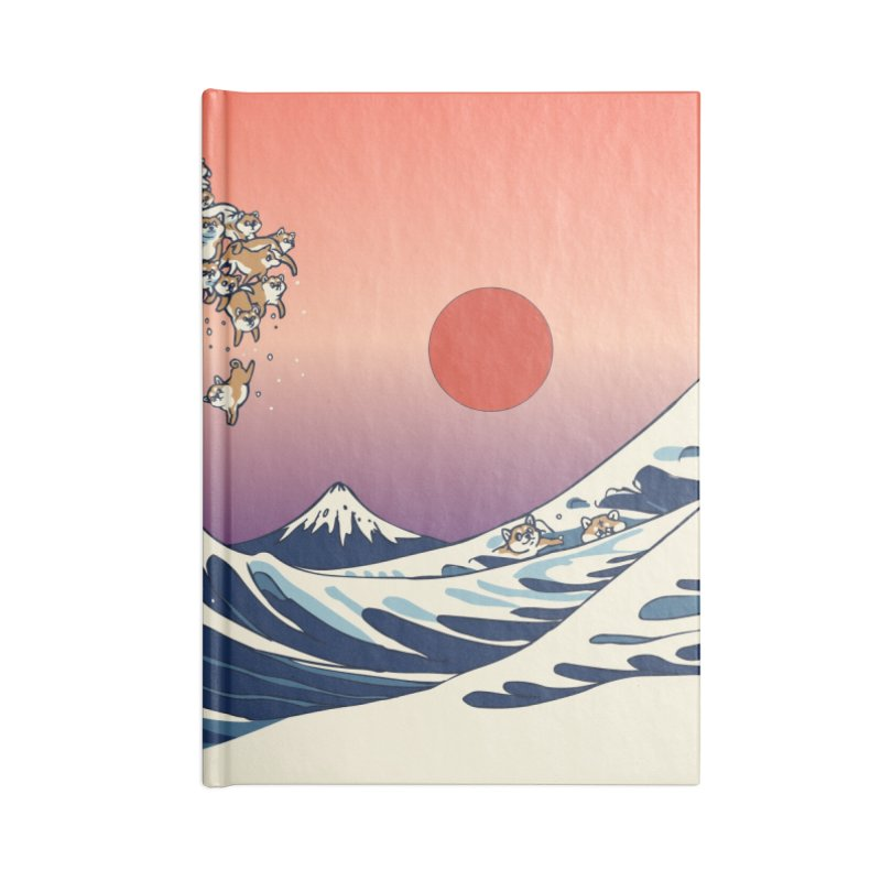 The Great Wave of Shiba Inu Accessories Blank Journal Notebook by huebucket's Artist Shop